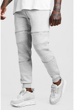 Mens Grey MAN Biker Joggers With Zip Detail