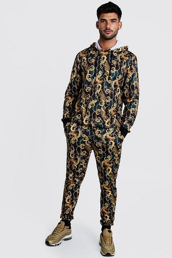 Black All Over Baroque Printed Hooded Tracksuit