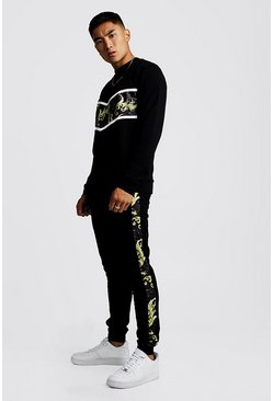 Mens Black Baroque Panelled Sweater Tracksuit