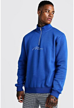 Mens Cobalt MAN Signature Half Zip Funnel Neck Sweater