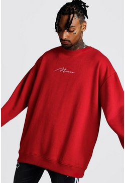 Mens Red Oversized MAN Signature Sweater