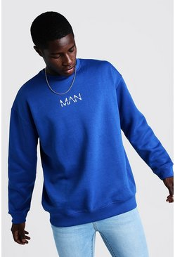 Mens Cobalt Oversized Original MAN Sweater