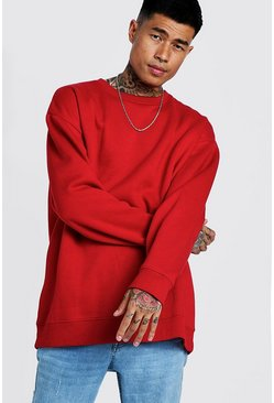 Mens Red Fleece Oversized Sweatshirt