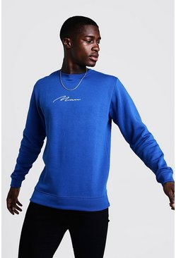 Mens Cobalt MAN Signature Sweater