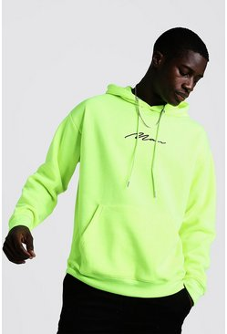 Mens Neon-yellow Oversized MAN Signature Hoodie