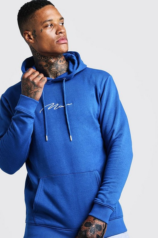 Cobalt Man Signature Over The Head Fleece Hoodie