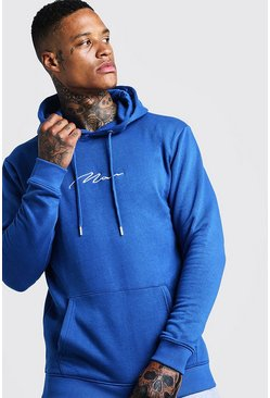 Mens Cobalt MAN Signature Embroidered Hoodie
