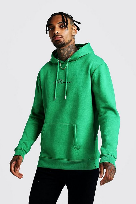 Mens Green MAN Signature Embroidered Hoodie