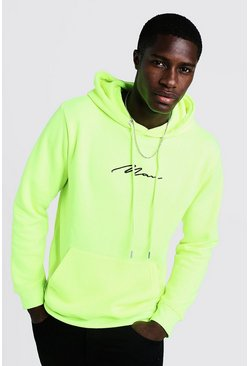 Mens Neon-yellow MAN Signature Embroidered Hoodie