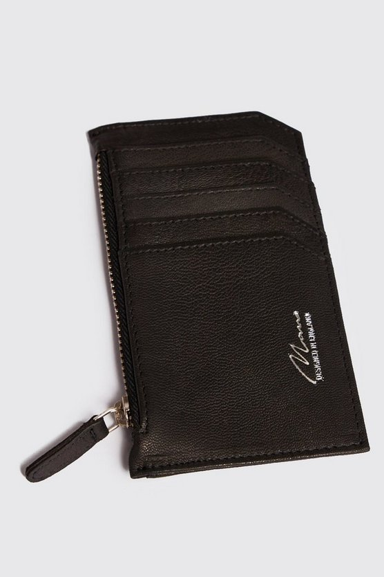 Mens Black Foil Emboss Real Leather Zip Card Holder
