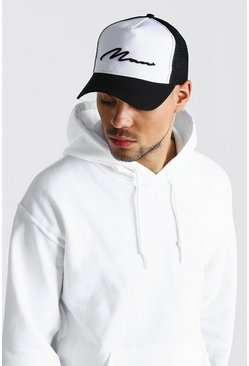 Black MAN Script Colour Block Trucker Cap