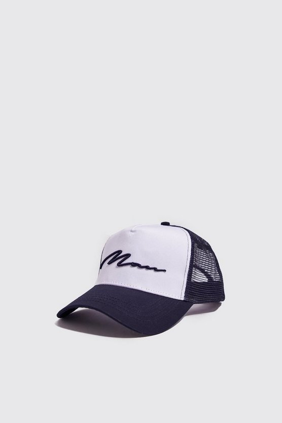 Mens Navy MAN Script Colour Block Trucker Cap