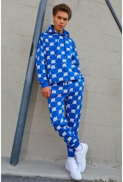 Mens Cobalt M Repeat Print Hooded Tracksuit