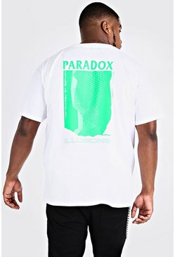 Mens White Big & Tall Paradox Back Print T-Shirt