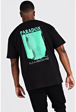 Mens Black Big & Tall Paradox Back Print T-Shirt