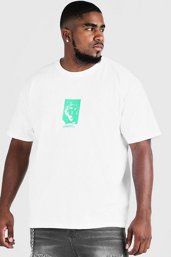 Mens White Big & Tall Front & Back Print T-Shirt