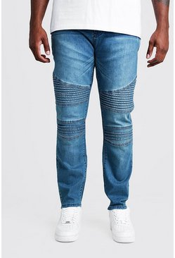 Mens Mid blue Big & Tall Skinny Fit Jean With Biker Detail