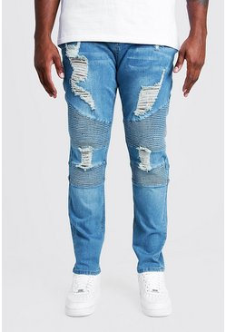 Mens Mid blue Big & Tall Skinny Fit Biker Jean Extreme Rips