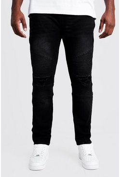 Mens Washed black Big & Tall Biker Detail Skinny Fit Jean