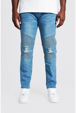 Big & Tall Mid Blue Biker Detail Skinny Fit Jean
