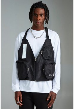 Mens Black MAN Utility Vest With Strap Detail