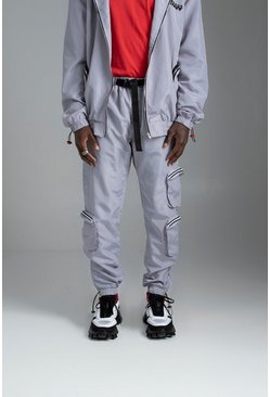 Mens Silver Shell Jogger With Pocket And Ankle Detail
