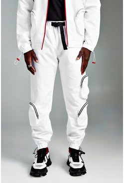 Mens White Shell Joggers With Pocket And Ankle Detail