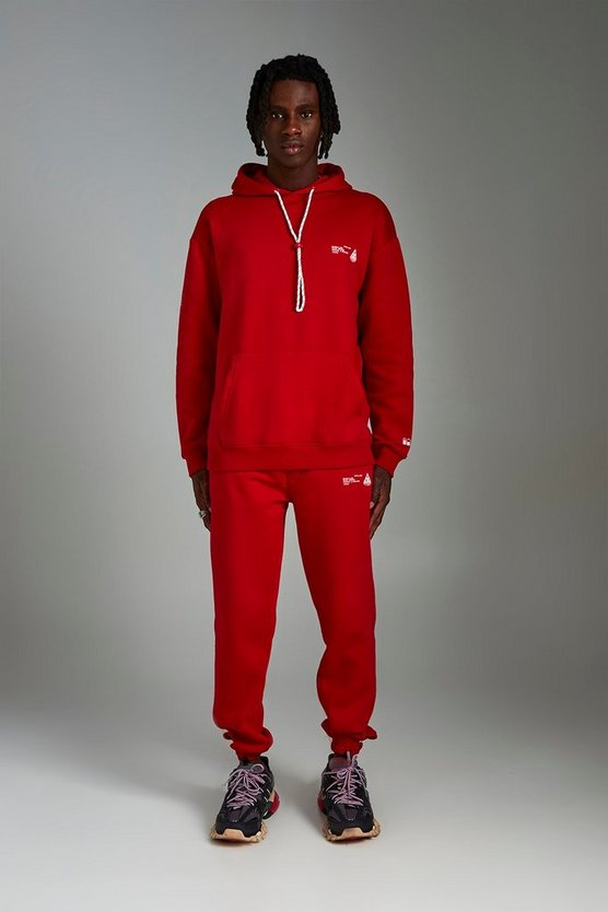 Mens Red MAN Loose Front And Back Print Tracksuit