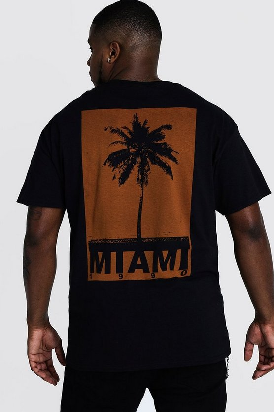 Mens Black Big & Tall Miami Print T-Shirt