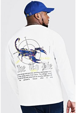 Mens White Big & Tall Back Print Long Sleeve T-Shirt