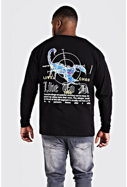 Mens Black Big & Tall Back Print Long Sleeve T-Shirt
