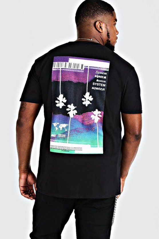 Mens Black Big & Tall System Print T-Shirt