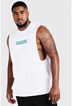 Mens White Big & Tall MAN Drop Armhole Tank With Print