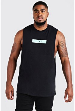 Big & Tall MAN Drop Armhole Tank With Print, Black, HOMMES