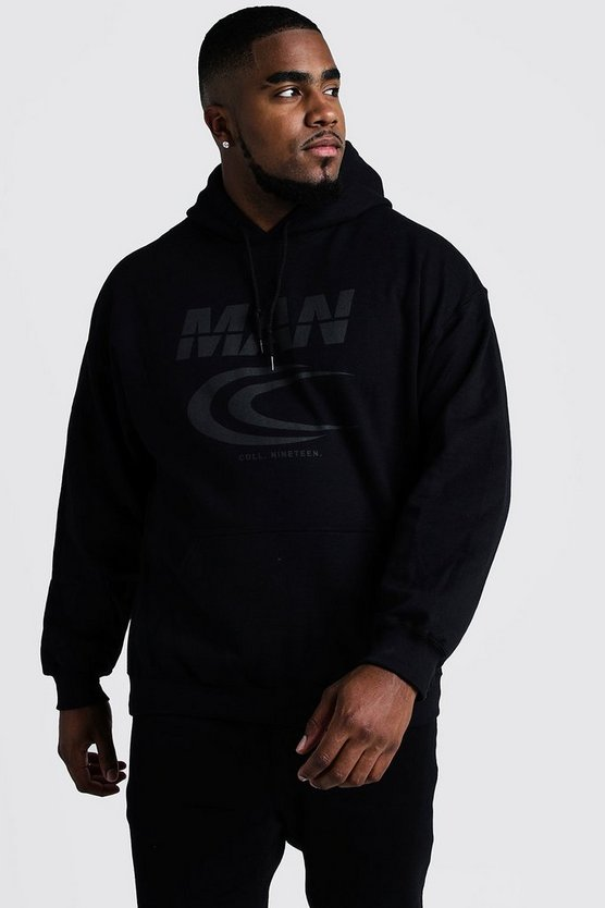 Mens Black Big & Tall MAN Reflective Print Hoodie