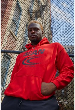 Red Big & Tall MAN Reflective Print Hoodie