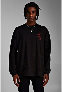 Mens Black MAN Loose Fit Extended Neck Long Sleeve T-Shirt