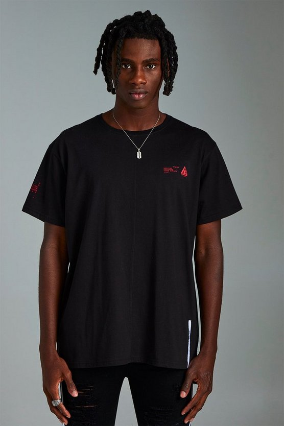 Mens Black MAN Loose Fit Split Hem T-Shirt