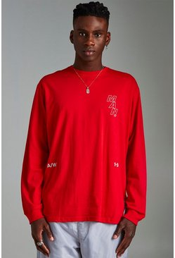 Mens Red MAN Loose Fit Long Sleeve Printed T-Shirt