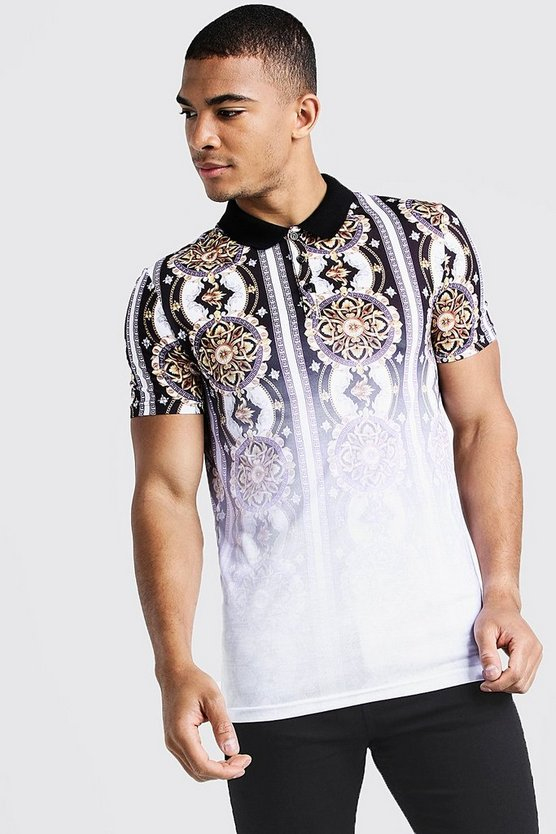 Mens White Muscle Fit Baroque Faded Polo