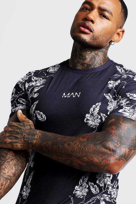 Mens Black MAN Muscle Fit Floral Print T-Shirt