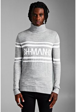 Mens Grey MAN Roll Neck Drop Shoulder Jumper