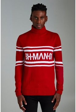 Mens Red MAN Roll Neck Drop Shoulder Jumper