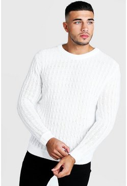Mens White Cable Crew Neck Jumper