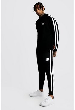 Mens Black MAN Funnel Neck Knitted Tracksuit
