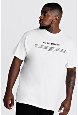 Mens White Big And Tall MAN Branded Visionary T-Shirt