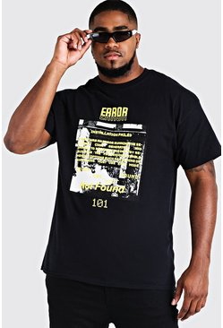 Big And Tall Error 101 Printed T-Shirt, Black, HOMMES
