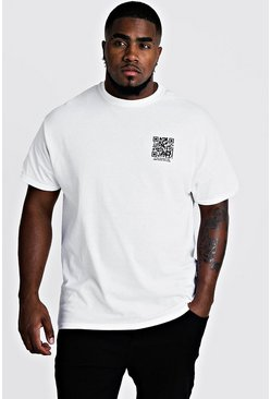 Mens White Big And Tall MAN Branded Code Print T-Shirt