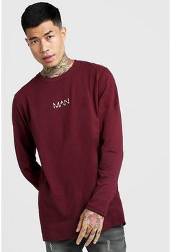 Mens Burgundy Original Man Longline Long Sleeve T-Shirt