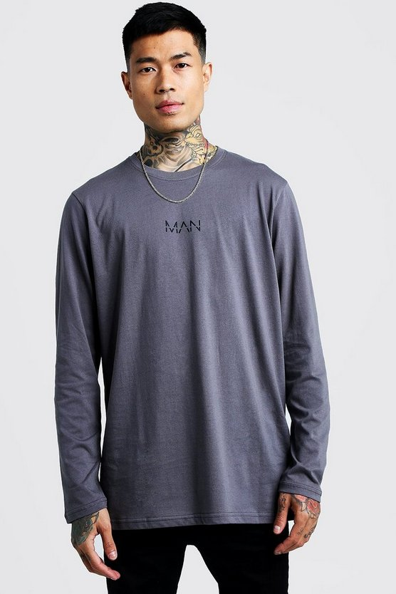 Charcoal Original Man Longline Long Sleeve T-Shirt
